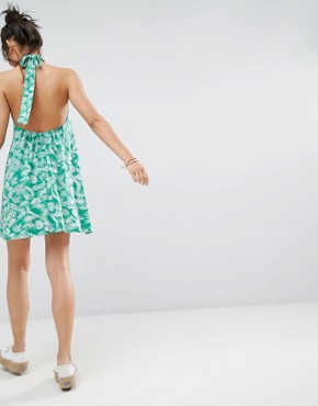 photo Halter Swing Sundress in Green Palm Print by ASOS, color Green Palm Print - Image 2