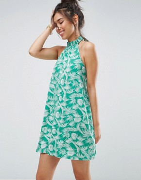 photo Halter Swing Sundress in Green Palm Print by ASOS, color Green Palm Print - Image 1