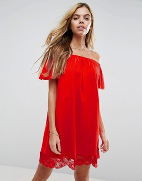 photo Off Shoulder Mini Dress with Lace Hem by ASOS, color Red - Image 1