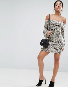 photo Off Shoulder Bodycon Mini Dress with Trumpet Sleeves in Animal Print by ASOS, color Leopard Print - Image 4