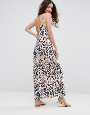 photo V-Back City Maxi Dress in Abstract Animal Print by ASOS, color Animal Print - Image 1