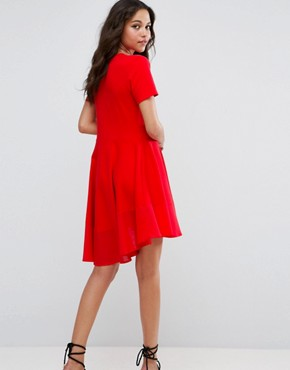 photo Skater T-Shirt Dress with Woven Cotton Hem by ASOS, color Red - Image 2