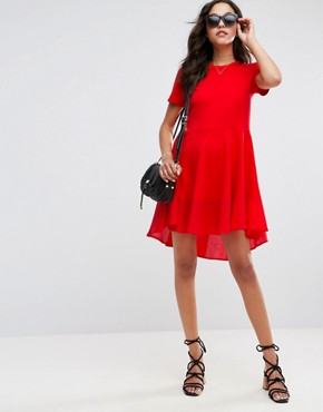 photo Skater T-Shirt Dress with Woven Cotton Hem by ASOS, color Red - Image 4