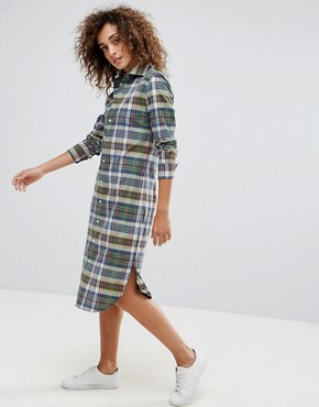 photo Check Shirt Dress by Polo Ralph Lauren, color Navy/Red - Image 1