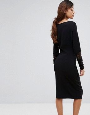 photo Emira Lace Insert Bodycon Dress by Gestuz, color Black - Image 2