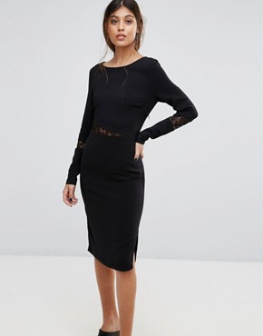 photo Emira Lace Insert Bodycon Dress by Gestuz, color Black - Image 1