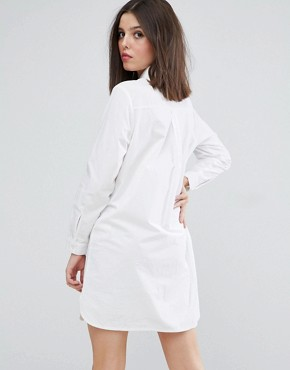 photo Cotton Shirt Dress by ASOS PETITE, color White - Image 2