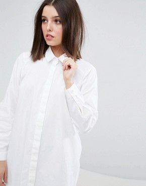 photo Cotton Shirt Dress by ASOS PETITE, color White - Image 3