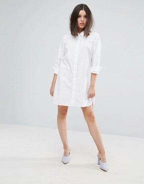 photo Cotton Shirt Dress by ASOS PETITE, color White - Image 4