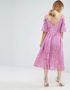 photo Pink Lace Midi Dress with Eyelet Tape by ASOS PETITE, color Sugar Pink - Image 2