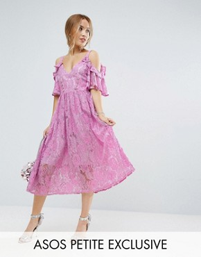 photo Pink Lace Midi Dress with Eyelet Tape by ASOS PETITE, color Sugar Pink - Image 1
