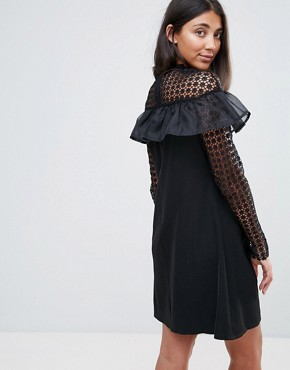 photo Long Sleeve Shift Dress with Mesh Polka Dot Sleeves and Frill Detail by Amy Lynn Occasion, color Black - Image 2