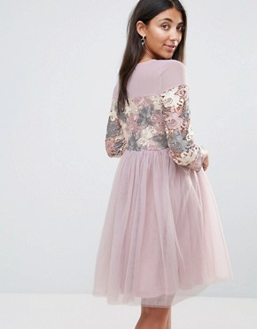 photo Long Sleeve Embroidered Skater Dress with Tulle Skirt by Amy Lynn Occasion, color Light Purple - Image 2