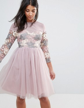 photo Long Sleeve Embroidered Skater Dress with Tulle Skirt by Amy Lynn Occasion, color Light Purple - Image 1