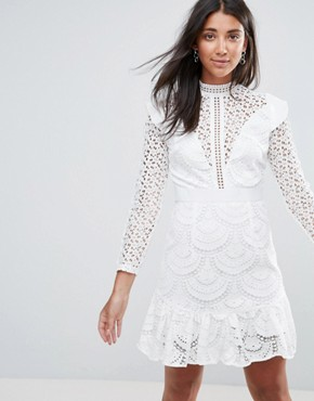 photo Sleeveless Lace Dress with Frill Detail by Amy Lynn Occasion, color White - Image 1
