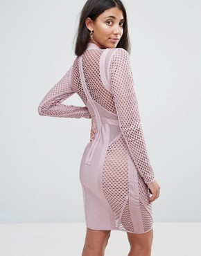 photo Long Sleeve Panelled Bandage Dress by Amy Lynn Occasion, color Dusky Pink - Image 2