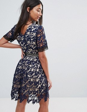 photo 3/4 Sleeve Lace Skater Dress by Amy Lynn Occasion, color Navy - Image 2