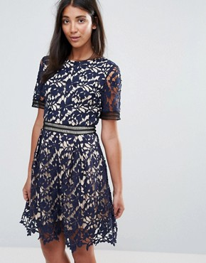 photo 3/4 Sleeve Lace Skater Dress by Amy Lynn Occasion, color Navy - Image 1