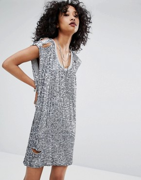 photo Embellished Dress with Distressing by Religion, color Silver - Image 1