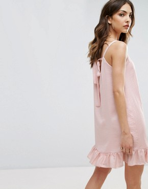 photo Sleeveless Dress with Frill Hem in Satin by Nobody's Child, color Blush - Image 2