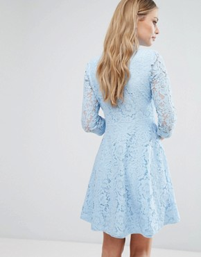 photo Skater Shirt Dress in All Over Lace by City Goddess, color Powder Blue - Image 2