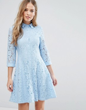photo Skater Shirt Dress in All Over Lace by City Goddess, color Powder Blue - Image 1