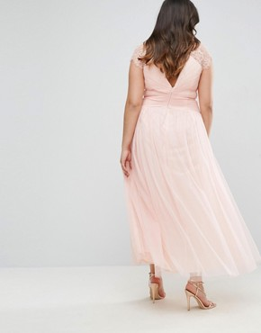 photo Maxi Dress with Lace Shoulder by Little Mistress Plus, color Pink - Image 2