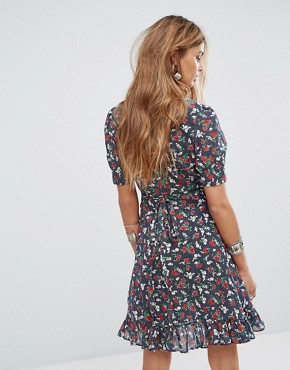 photo Wrap Dress with Floral Rose Print by Denim & Supply by Ralph Lauren, color Navy Multi - Image 2