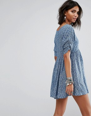photo Ditsy Print Pintuck Dress by Denim & Supply by Ralph Lauren, color Blue - Image 2