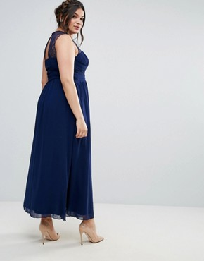 photo Maxi Dress with Lace Bodice by Little Mistress Plus, color Navy - Image 2