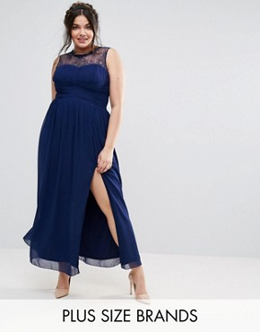 photo Maxi Dress with Lace Bodice by Little Mistress Plus, color Navy - Image 1