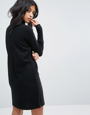 photo Roll Neck Batwing Knitted Dress by Noisy May, color Black - Image 2