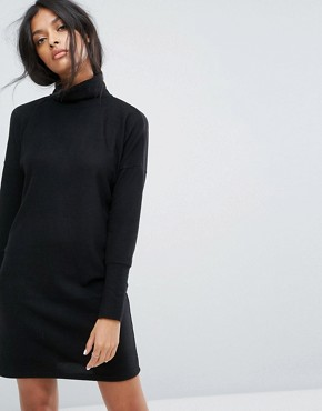 photo Roll Neck Batwing Knitted Dress by Noisy May, color Black - Image 1