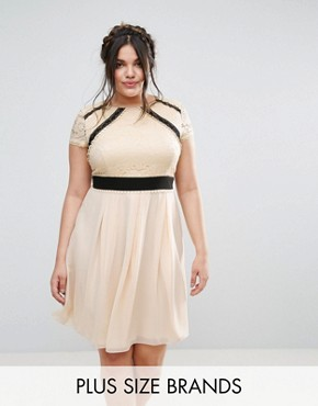 photo 2 in 1 Lace Skater Dress with Contrast Skirt by Little Mistress Plus, color Cream - Image 1