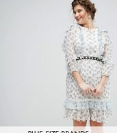 photo Ruffle Hem Skater Dress with Metal Belt in Ditsy Floral by Truly You, color Multi - Image 1