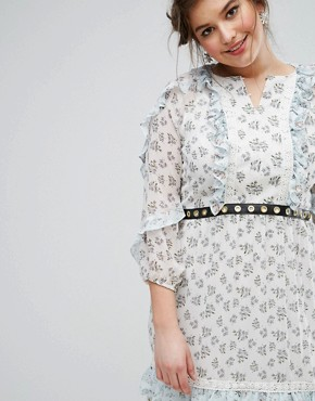 photo Ruffle Hem Skater Dress with Metal Belt in Ditsy Floral by Truly You, color Multi - Image 3