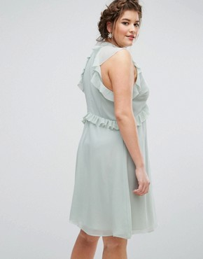 photo Ruffle Sleeve Skater Dress by Truly You, color Green - Image 2