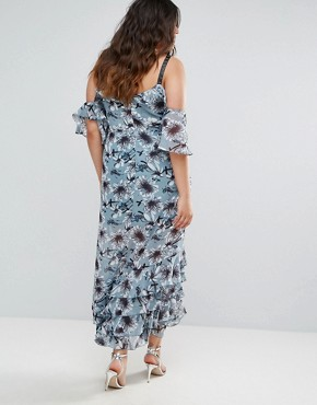 photo Floral Print Cold Shoulder Dress with Ruffle Hem by Truly You, color Multi - Image 2