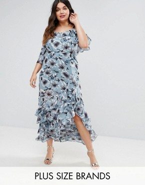 photo Floral Print Cold Shoulder Dress with Ruffle Hem by Truly You, color Multi - Image 1