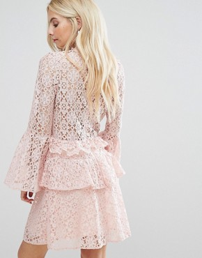 photo Allover Cutwork Lace Mini Dress with Fluted Sleeve Detail by John Zack Petite, color Nude - Image 2