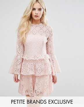 photo Allover Cutwork Lace Mini Dress with Fluted Sleeve Detail by John Zack Petite, color Nude - Image 1