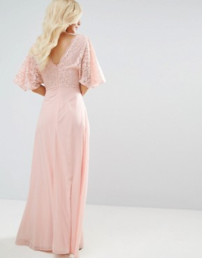 photo Open Back Maxi Dress with Fluted Lace Sleeve by John Zack Petite, color Nude - Image 2
