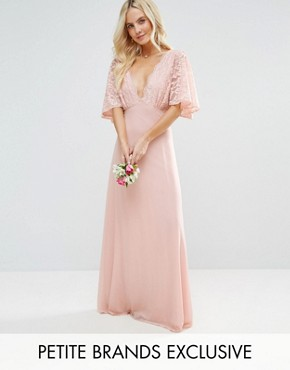 photo Open Back Maxi Dress with Fluted Lace Sleeve by John Zack Petite, color Nude - Image 1
