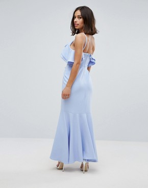 photo Ruffle Front Fishtail Maxi Dress with High Low Hem by John Zack Petite, color Pale Blue - Image 2