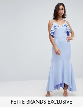 photo Ruffle Front Fishtail Maxi Dress with High Low Hem by John Zack Petite, color Pale Blue - Image 1
