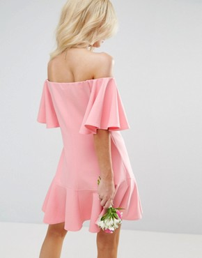 photo Off Shoulder Mini Dress with Fluted Sleeve and Hem Detail by John Zack Petite, color Candy Pink - Image 2