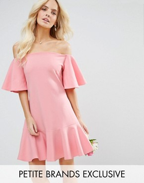 photo Off Shoulder Mini Dress with Fluted Sleeve and Hem Detail by John Zack Petite, color Candy Pink - Image 1