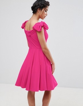 photo Off Shoulder Mini Dress with Bow Sleeve Detail by John Zack Petite, color Hot Pink - Image 2