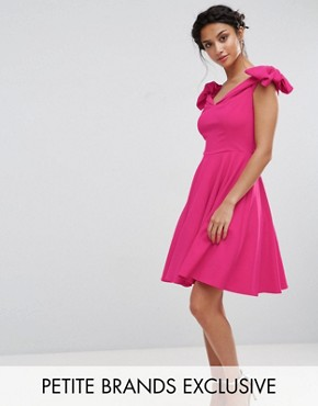photo Off Shoulder Mini Dress with Bow Sleeve Detail by John Zack Petite, color Hot Pink - Image 1