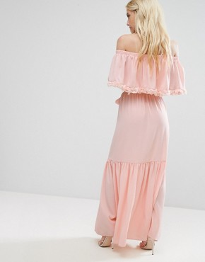 photo Off Shoulder High Low Maxi Dress with 3D Rose Applique Detail by John Zack Petite, color Nude - Image 2